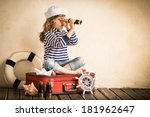 happy kid playing with toy... | Shutterstock . vector #181962647