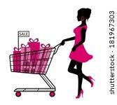 silhouette woman rolls cart...   Shutterstock .eps vector #181967303