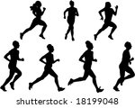 women running raster version | Shutterstock . vector #18199048