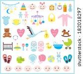 set of baby shower elements... | Shutterstock . vector #182018297
