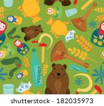 classic russian things seamless ... | Shutterstock . vector #182035973