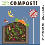 compost organic waste recycling ... | Shutterstock .eps vector #182065367