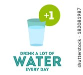 drink a lot of water flat poster | Shutterstock .eps vector #182081987