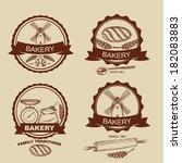 set of vintage bakery badges... | Shutterstock .eps vector #182083883