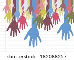 colorful silhouette hands... | Shutterstock .eps vector #182088257