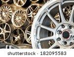 various alloy wheels in store ... | Shutterstock . vector #182095583