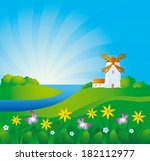 rural background with windmill | Shutterstock . vector #182112977