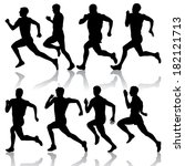 set of silhouettes. runners on... | Shutterstock . vector #182121713