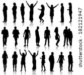 black silhouettes of beautiful... | Shutterstock . vector #182121947