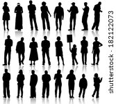 black silhouettes of beautiful... | Shutterstock . vector #182122073