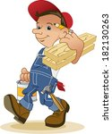 cheerful handyman or carpenter | Shutterstock . vector #182130263