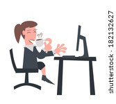 business girl drinking coffee... | Shutterstock .eps vector #182132627