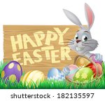 happy easter sign with easter... | Shutterstock .eps vector #182135597