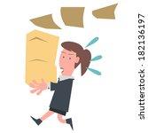 business girl holding document | Shutterstock .eps vector #182136197