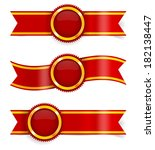 set of red award ribbons and... | Shutterstock .eps vector #182138447
