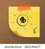 sticky note paper with doodles | Shutterstock .eps vector #182144627