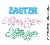 happy easter hand lettering  ... | Shutterstock .eps vector #182146823