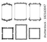 set of black frame isolated on... | Shutterstock .eps vector #182163047