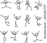 set of stick figures  happy... | Shutterstock . vector #182181737