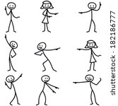 Set Of Vector Stick Figures ...