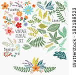 hand drawn vintage floral... | Shutterstock .eps vector #182188523