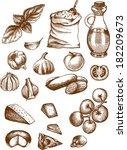 a hand drawn vector set... | Shutterstock .eps vector #182209673