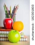 back to school   note book  ... | Shutterstock . vector #182301803