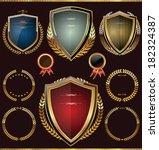 golden shields with laurels... | Shutterstock .eps vector #182324387