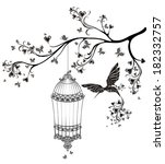 birds out of cages. spring... | Shutterstock .eps vector #182332757