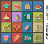 vector set of food icons in... | Shutterstock .eps vector #182340503