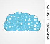 vector cloud computing concept. ... | Shutterstock .eps vector #182343497