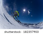 skier in high mountains during...   Shutterstock . vector #182357903