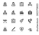 set of black flat icons with... | Shutterstock .eps vector #182370833