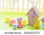 Easter Bunnies And Eggs In...