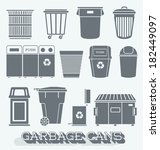 vector set  garbage cans and... | Shutterstock .eps vector #182449097