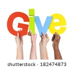 diverse hands holding the word... | Shutterstock . vector #182474873