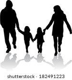 family silhouettes | Shutterstock .eps vector #182491223