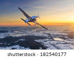 airplane flying on the sky at... | Shutterstock . vector #182540177