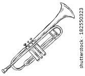 vector sketch trumpet   Shutterstock .eps vector #182550323