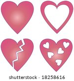 4 different vector hearts | Shutterstock .eps vector #18258616