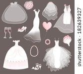 wedding dresses set   vector... | Shutterstock .eps vector #182639327