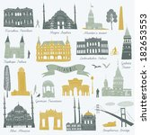 istanbul landmarks and monuments | Shutterstock .eps vector #182653553