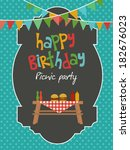 picnic party | Shutterstock .eps vector #182676023