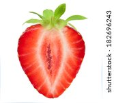 half of strawberry isolated on... | Shutterstock . vector #182696243