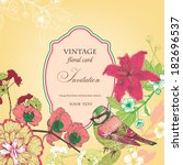 floral invitation card with... | Shutterstock .eps vector #182696537