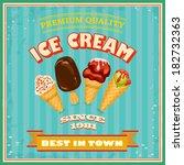 vintage ice cream poster. ... | Shutterstock . vector #182732363