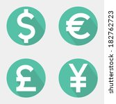 set of currency icons. vector... | Shutterstock .eps vector #182762723