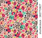 seamless cute flower mix and leopard vector pattern.