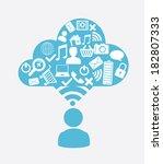 social media design over white... | Shutterstock .eps vector #182807333