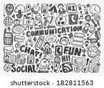 doodle communication background | Shutterstock .eps vector #182811563